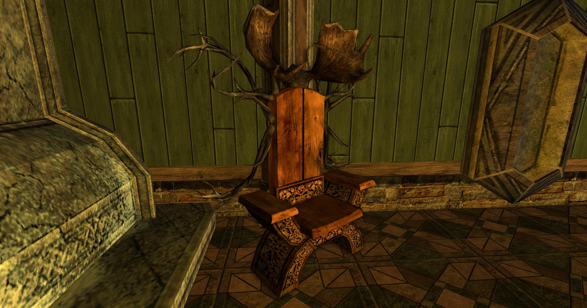 Chaise des Rohirrim avec ramures complexes