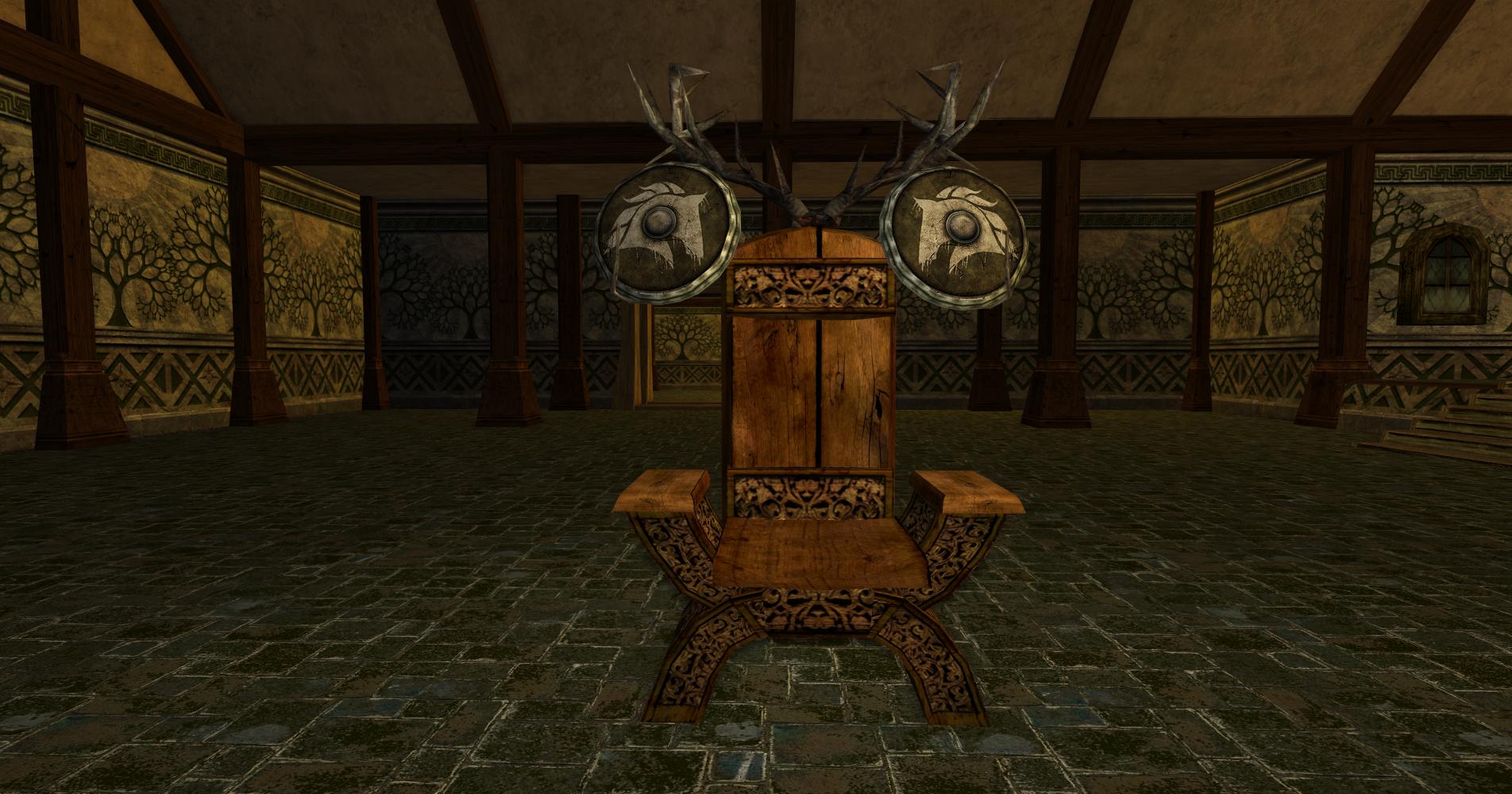 Chaise et deux boucliers des Rohirrim